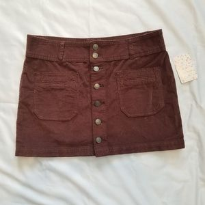 Free People We The Free Chocolate Brown Miniskirt